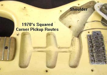 vintage guitars info fender collecting vintage guitars fender also notice the squared off corner pickup routes earlier 1960 s strat bodies have rounded corner pickup routes